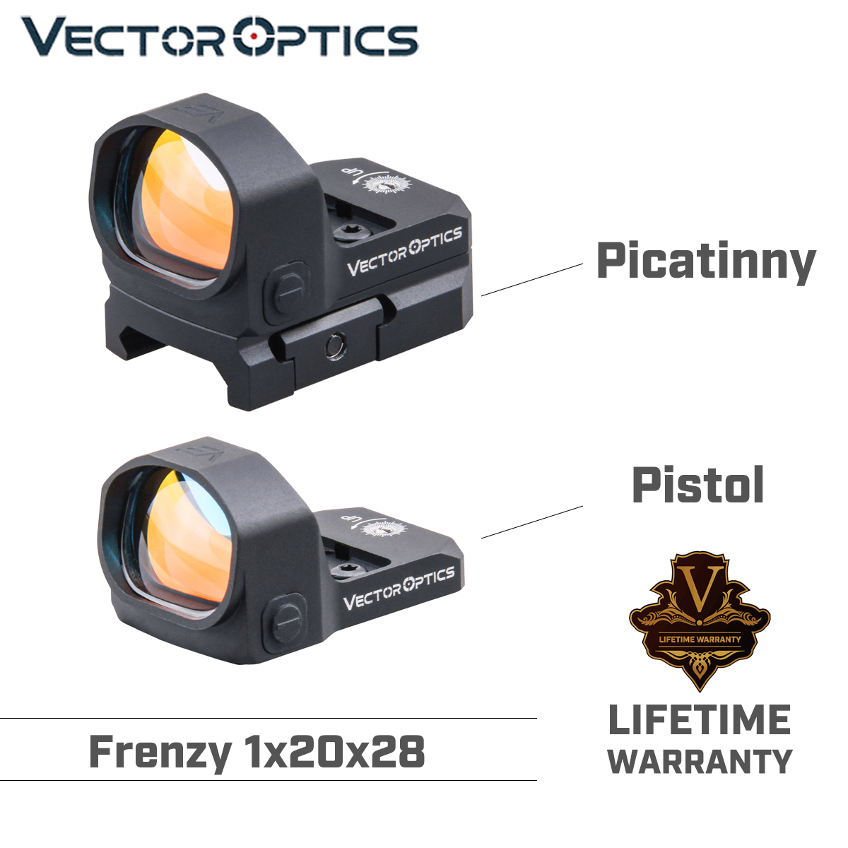 Vector Optics Frenzy 1x20x28 Red Dot Scope Handgun Pistol Sight IPX6 Water Proof Fit For GLOCK 17 19 9mm AR15 M4 AK Shotgun 12ga title=