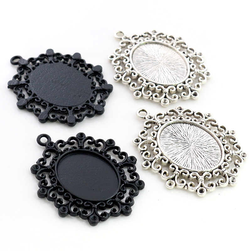 5pcs 18x25mm Inner Size Black Antique Silver Plated Fashion Style Cameo Cabochon Base Setting Charms Pendant Necklace Findings