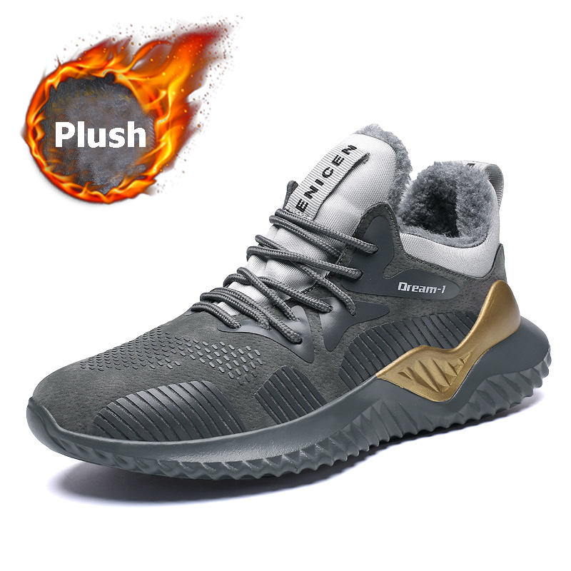 Hot Sale Winter Men Running Shoes Plush Warmth Winter Snow Boot Light Weight Athletic Trainers Outdoor Winter Walking Sneakers