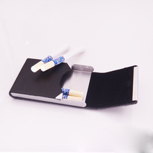 מיני קופסא סיגריות נירוסטה Flip גברים של מתכתי עור עסקים קופסא סיגריות