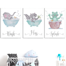 Canvas Painting Room-Decor Wall-Pictures Nordic Posters Prints Bathroom Kids Raccoon