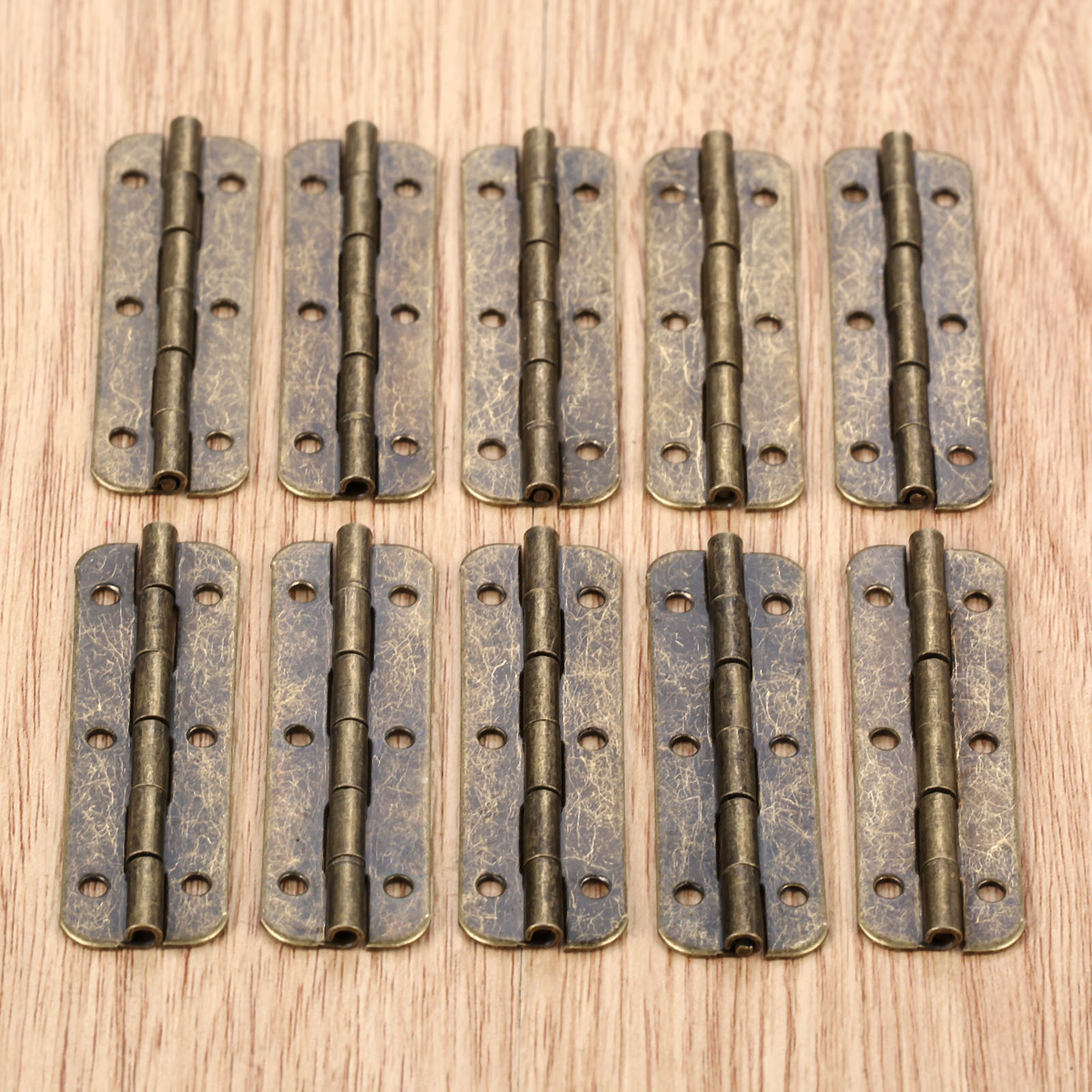 10Pcs Metal Cabinet Door Luggage Long Hinge Antique Vintage Bronze Tone6 Holes Decor Furniture Decoration Hardware