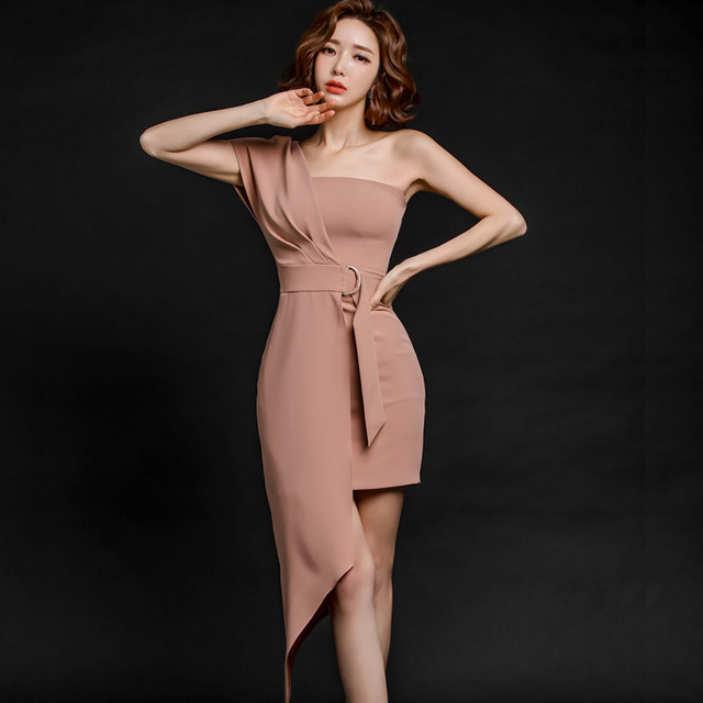 Korea Women's One-Shoulder Solid Sexy Bodyson High Waist Party Dress