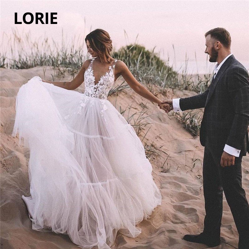 LORIE A-line Lace Appliqued Wedding Dress Soft Tulle V-neck Beach Boho Bride Gowns Illusion Sleeveless Princess Bridal Dresses