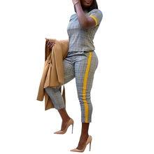 Женский костюм с круглым вырезом топ коротким рукавом и штаны