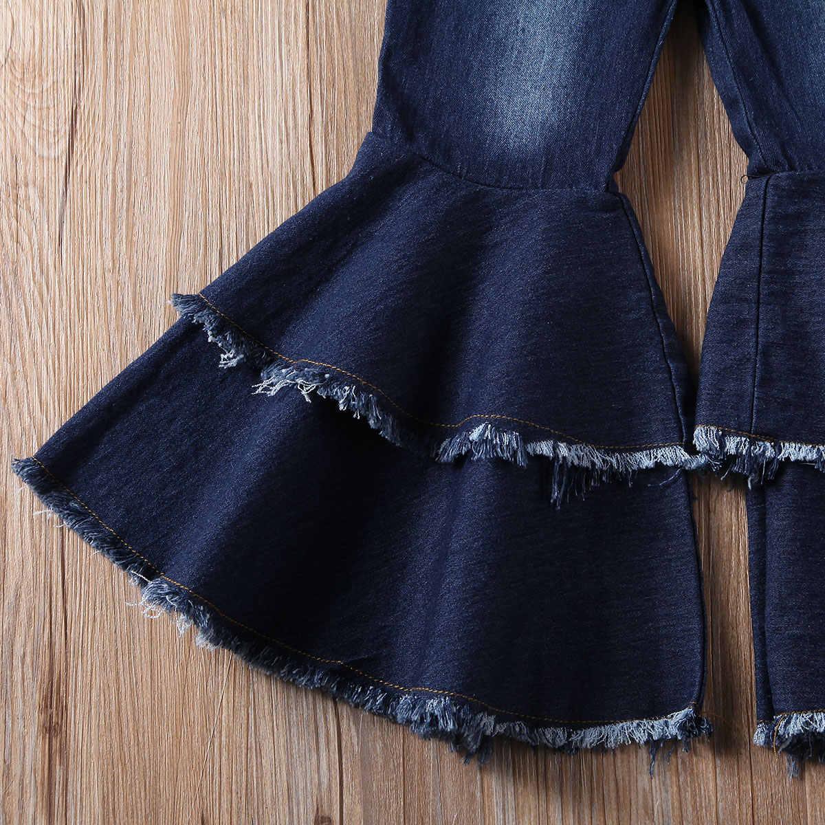 2-7Y yürüyor çocuk bebek kız püskül kot çan dipleri Flare pantolon kot geniş bacak pantolon 2020 yeni
