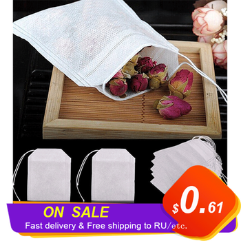 100 Pcs Disposable Tea Bags Filter Bags For Tea Infuser With String Heal Seal Food Grade Non-woven Fabric Spice Filters Teabags