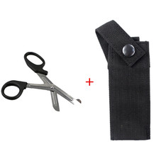 Tactical Medical Shears + Pouch EMT Scissor Sheath MOLLE HOLDER 2 in 1 Outdoor First Aid Hand Tools MOLLE Pouch Kit one hand tourniquet trauma shear molle pouch first aid kit for car vehicle outdoor camping hiking travel molle medical pouch
