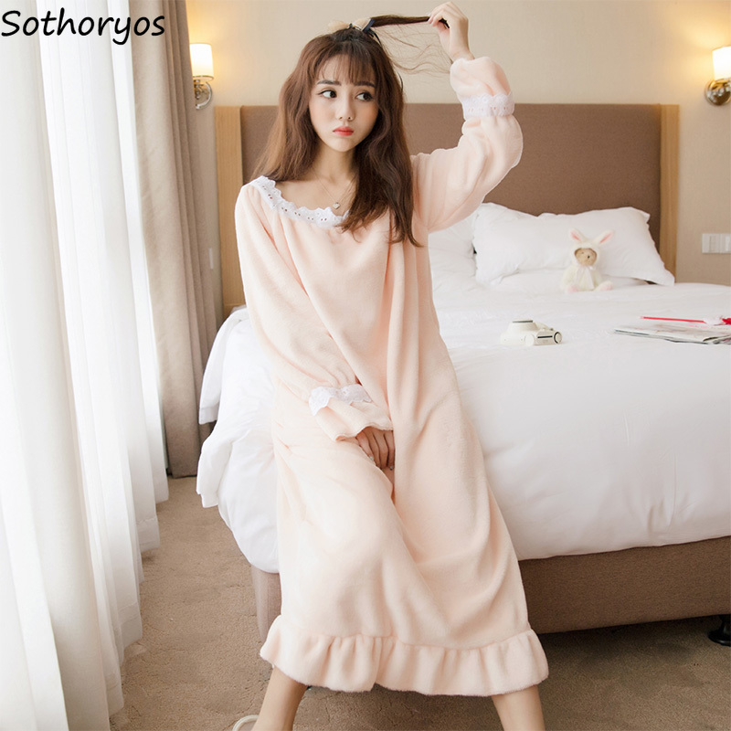 Nightgowns   Women Winter Ladies Long Sleeve Korean Cute Flannel Home   Sleepshirts   Clothing Coral Fleece Womens Thickened Warm Chic