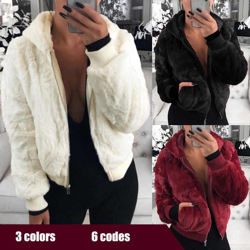 따뜻한 모피 후드 코트 여성 자켓 outwears 2020 지퍼 솔리드 가을 겨울 후드 코트 여성 기본 자켓 chaqueta mujer