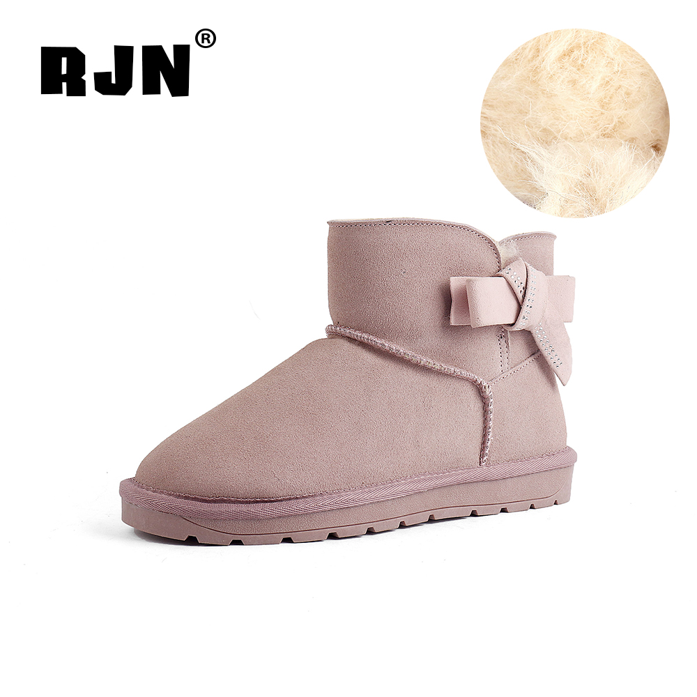 Promo RJN Sweet Pink Snow Boots Wool Insole Stylish Butterfly-Knot Round Toe Low Heel Slip-On Shoes Women Ankle Boots For Winter RX35