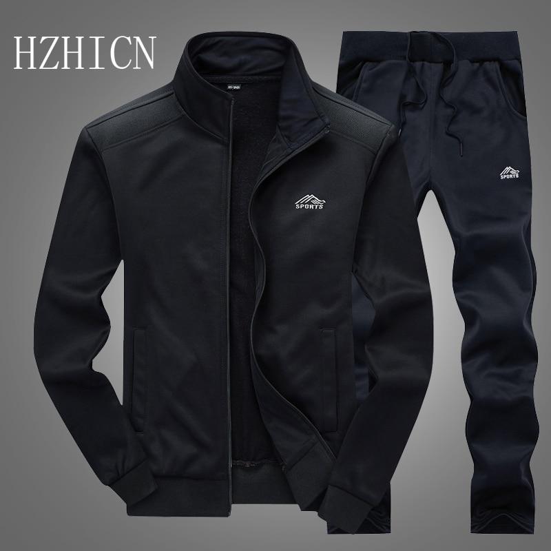 Tracksuits Men Polyester Sweatshirt Sporting Fleece 2020 Gyms Spring Jacket + Pants Casual Men's Track Suit Sportswear Fitness