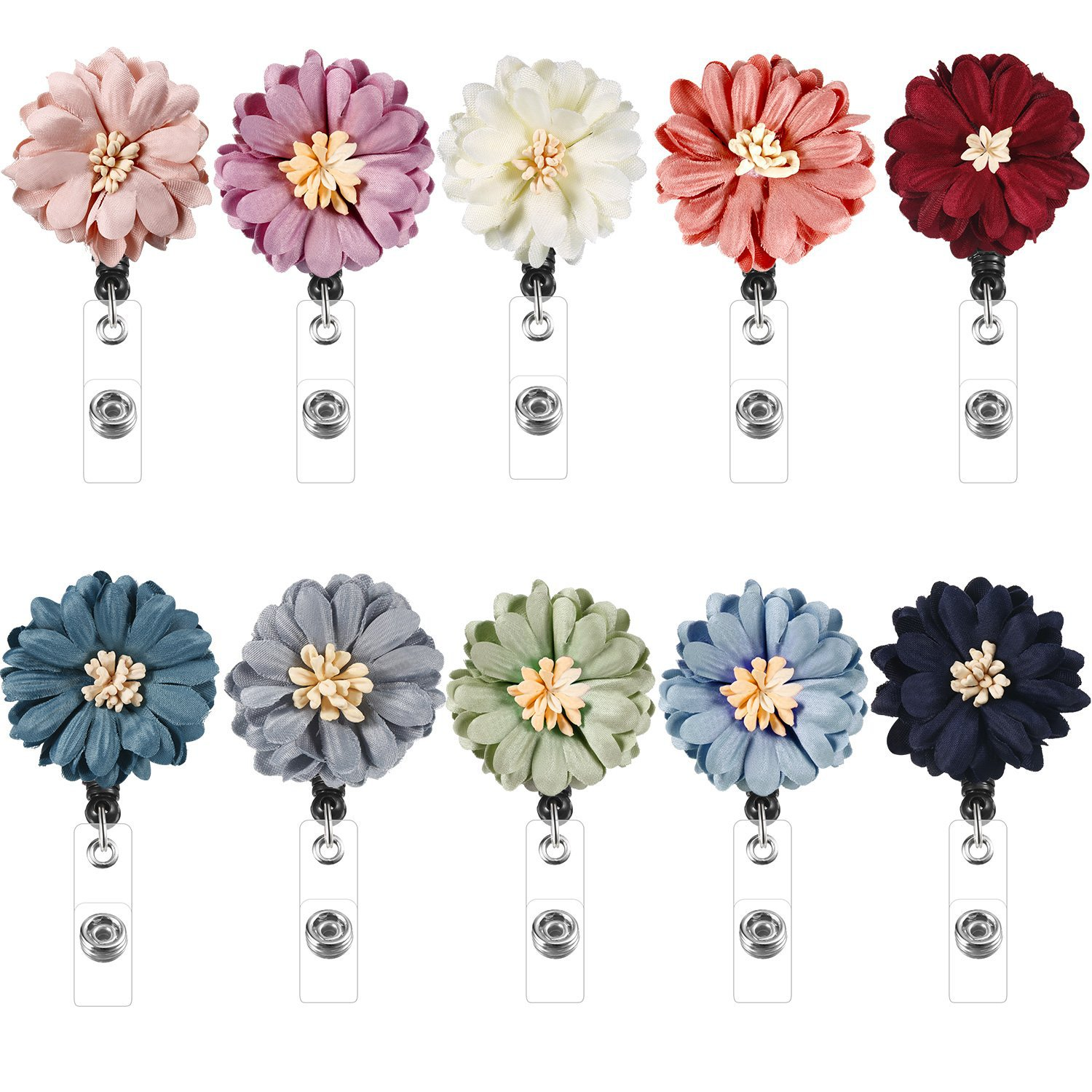 Handmade Fabric Flower Creative Can Buckle Alligator Clip Work Permit Telescopic Clip Nurses Name Tag Clip 12 Color Selectable