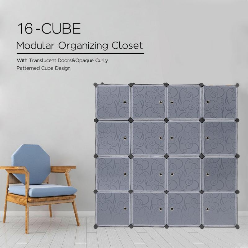 16 Cube Furniture Detachable Plastic Wardrobe Assembly Locker Clothes Cabinet Wardrobe Closets Bedroom Storage Box Organizer HWC