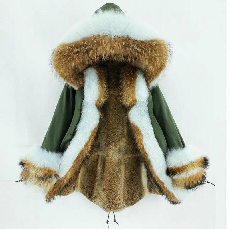 OFTBUY 2019 Long Parka Real Fur Coat Winter Jacket Women Natural Raccoon Fox Fur Collar Hood Cuffs Rabbit Lliner Outerwear New