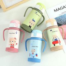 Bouteille isotherme à poignée Portable de 320ml pour étudiants, flacons sous vide en acier inoxydable 304, paille pour bébé, tasse thermique pour enfants