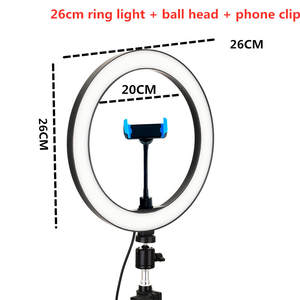Ring-Light Mobile-Phone Beauty 10inch Dimming Led-Knob-Type 26cm Stepless