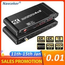 2020 meilleur HDMI Matrix 4x2 4K 60Hz HDR HDMI ARC commutateur séparateur 4 en 2 sortie optique SPDIF + 3.5mm prise Audio HIFI HDMI commutateur