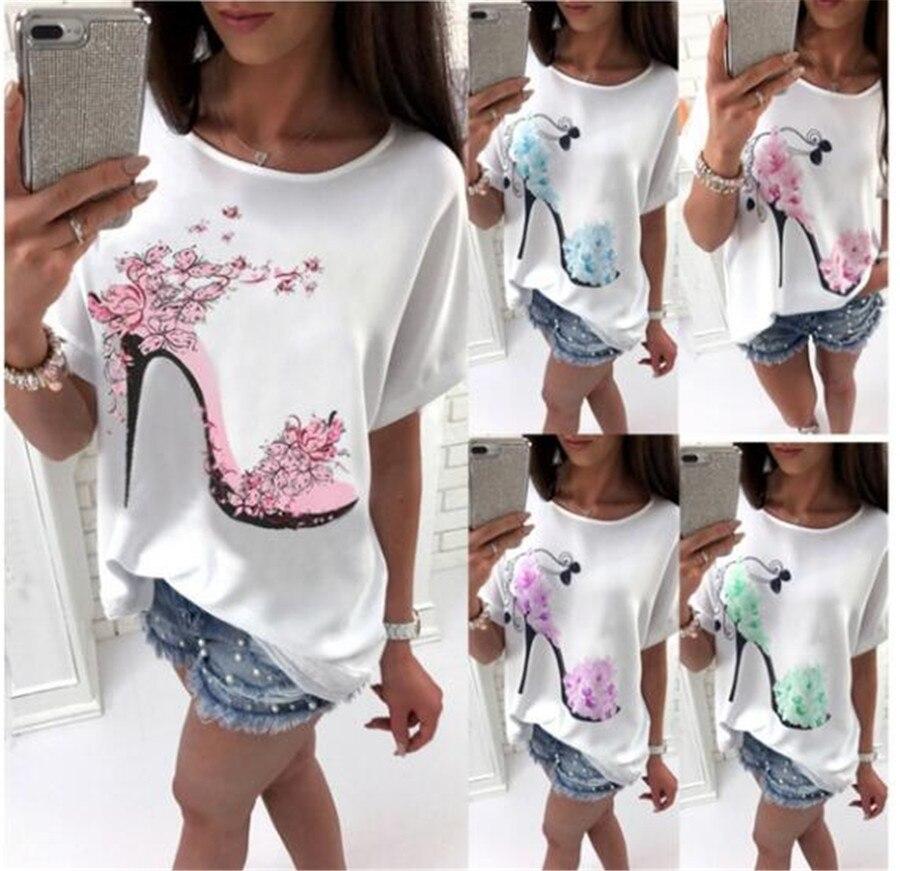 Women's T-shirt Solid Cotton Linen Short Sleeve High Heels Printed Tops Beach Fashion Tops