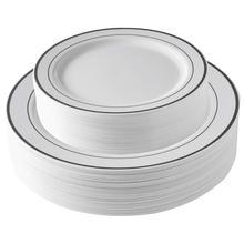 25 штук Серебристые пластиковые тарелки, белые одноразовые тарелки, серебряные тарелки, салат/десертные тарелки для свадеб и вечеринок