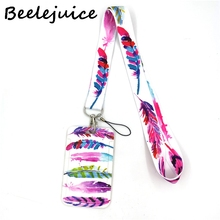 Colorful Feathers Lanyard Credit Card ID Holder Bag Student Women Travel Card Cover Badge Car Keychain Gifts Accessories