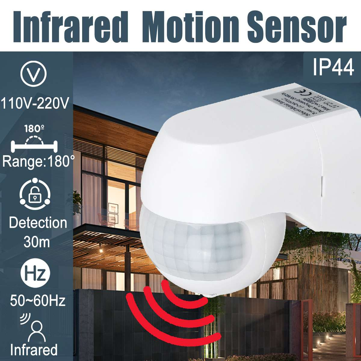Sensitive Infrared PIR Motion Sensor 180 Degree Adjustable Wireless Alarm Detector 110V-220V Time Delay Home Security Outdoor