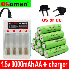 2019 New Tag 3000 MAH rechargeable battery AA 1.5 V Rechargeable For Clock Toys Flashlight Remote Control Camera battery+charger(China)