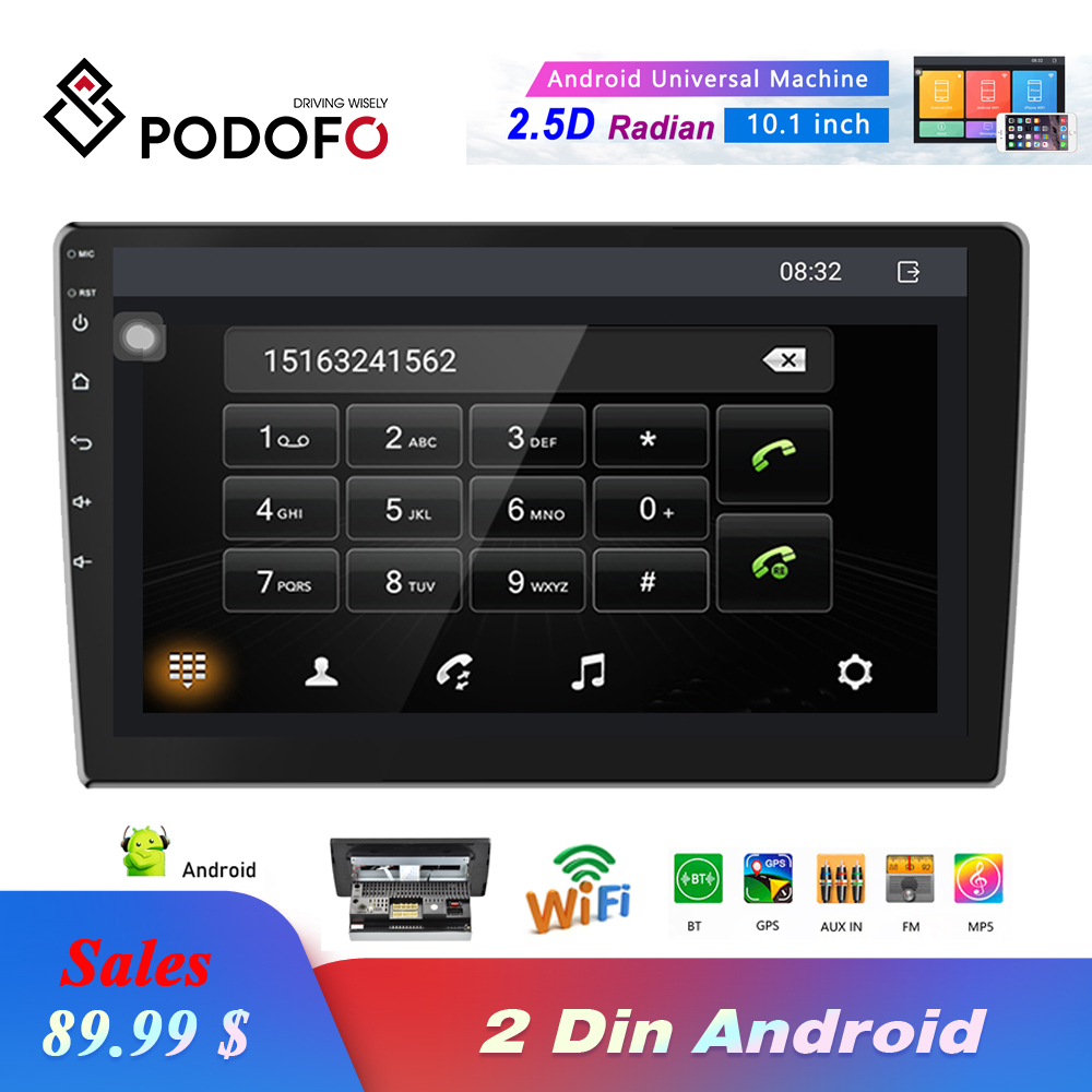 Podofo 2 Din Car Radio 10.1 Inch HD Car MP5 Multimedia Player Android 8.1 Car Stereo Gps Navigation Wifi Bluetooth FM Receiver