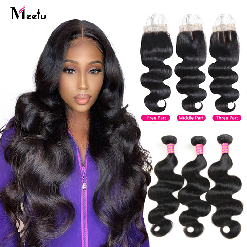 Meetu Brazilian Body Wave 3 Bundles With Closure 100% Human Hair Bundles With Closure Brazilian Hair Weave Bundles Non Remy Hair