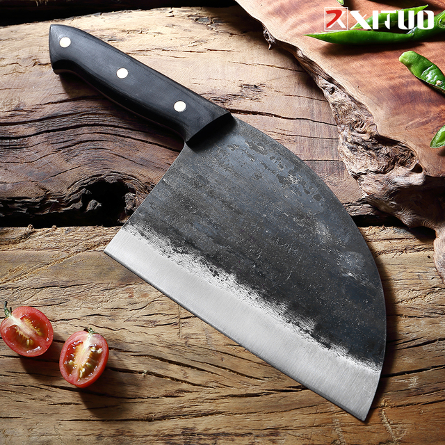 Hand Made Forged Steel Serbian Chef Type Knife  4