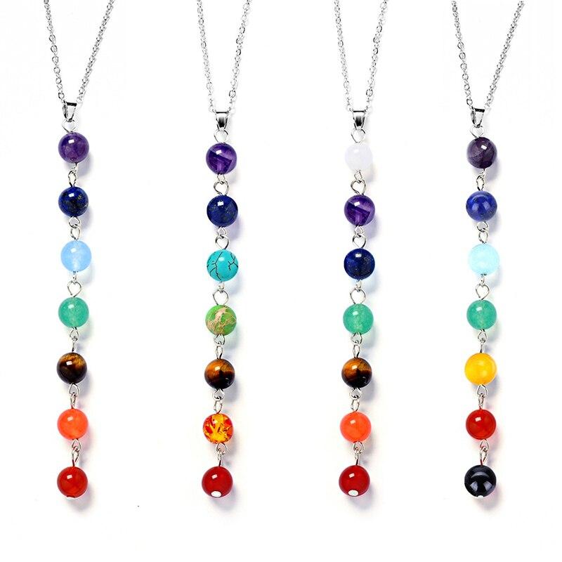 Choker Multicolor Stone Chakra Pendants Chain Charm Necklaces Jewelry Gift Women