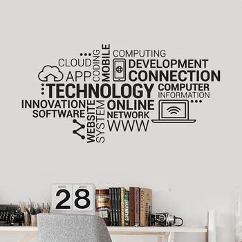 Technology Letters Vinyl Wall Decal Company Internet Innovation Words Cloud Office Wall Stickers Modern Home Decoration W411 1