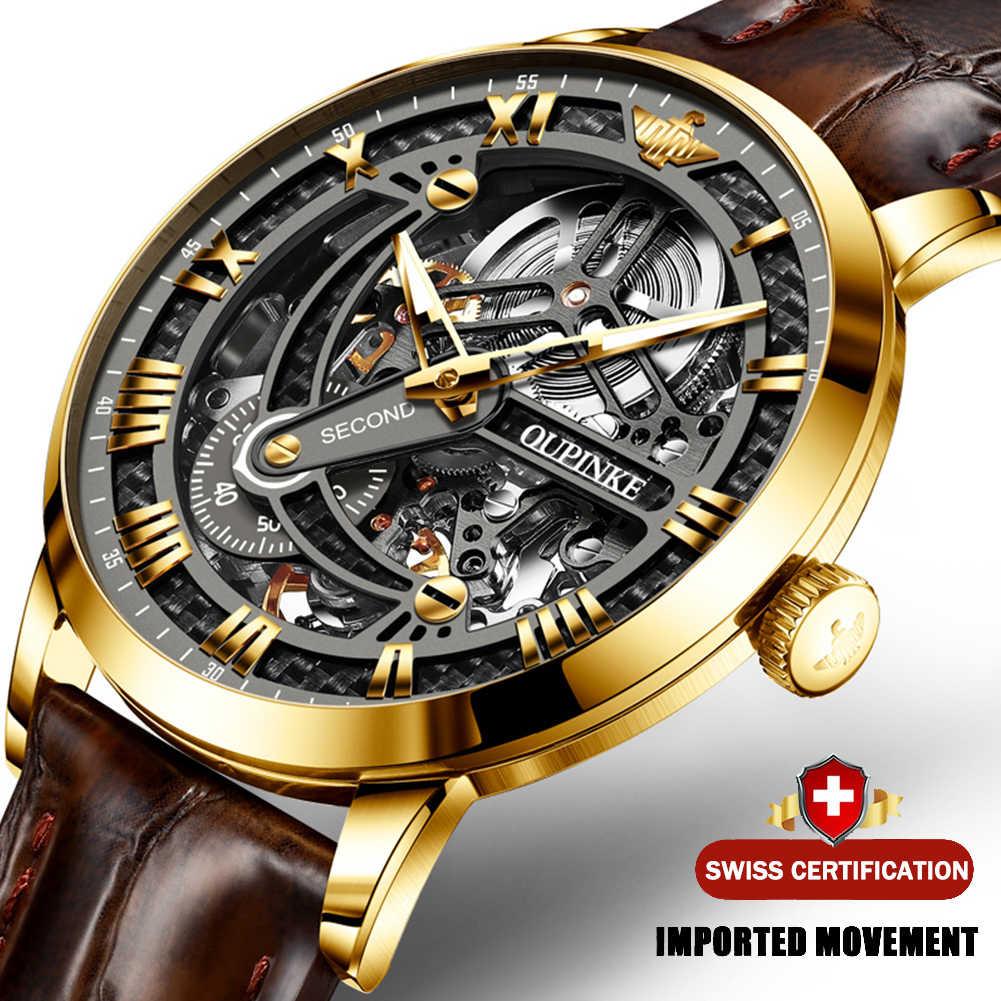 OLEVS קלאסי Mens רטרו שעונים אוטומטי מכאני שעון שעון עור אמיתי עמיד למים צבאי שעוני יד