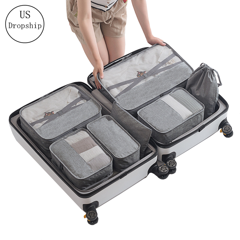 New 7PCS/set Travel Mesh Bag Women Luggage Organizer High Quality Cube Men Travel Bag Clothes Cosmetic Toiletrie Storage Bag