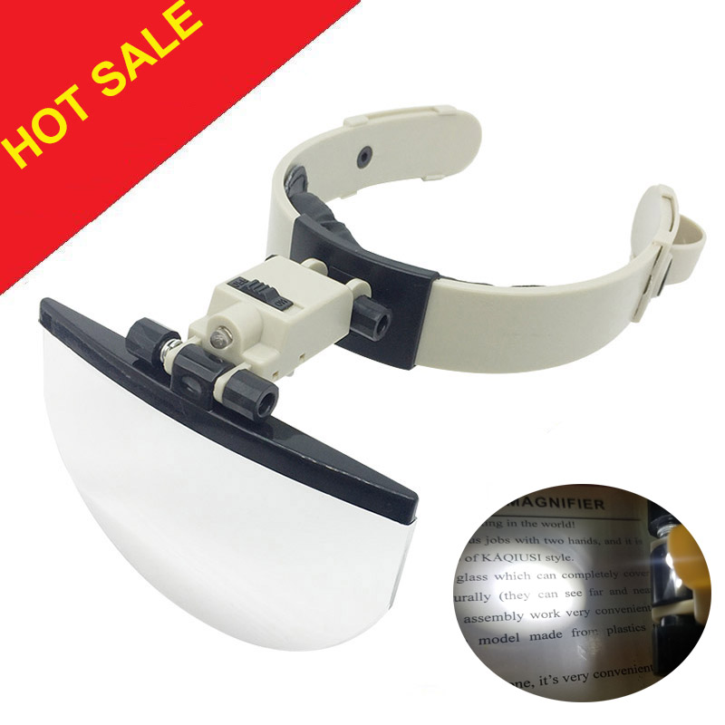 Large Lens Head Wearing Magnifying Glass with LED Illuminated Hand Free Reading Magnifier 2X 3.5X 4.5X 5.5X  f/ Collection Stamp-in Magnifiers from Tools