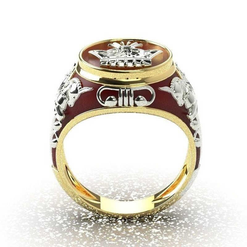 Anillo de dedo con diseño de corona de Caballo de metal de nuevo diseño, joyería de moda, anillos de boda geométricos rojos para hombres y mujeres Z5M506