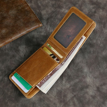 Vintage Men Women Durable Slim Simple Travel Genuine Leather Bank Business ID Card Wallet Holder Case with Coin Purse