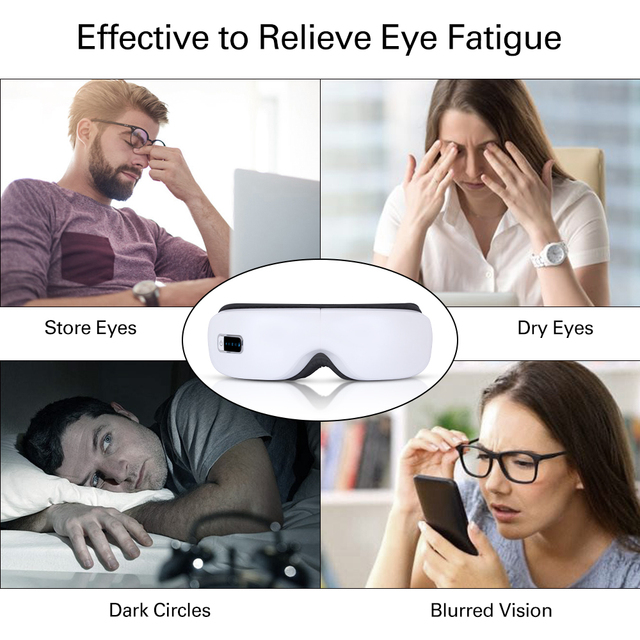 Electric Wireless Eye Massager Heating Therapy Air Pressure Eye SPA Bluetooth Music Eyes Stress Relief Device USB Recharge Fold 1