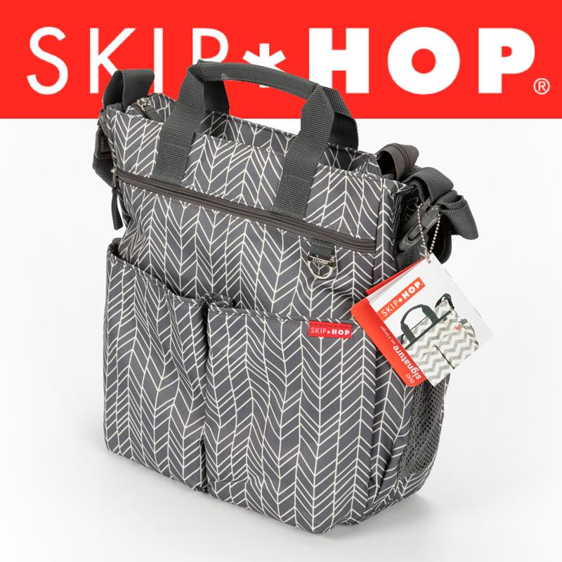 <font><b>Skip</b></font> <font><b>Hop</b></font> Messenger <font><b>Diaper</b></font> <font><b>Bag</b></font> with Matching Changing Pad, Duo Signature, Grey Feather image