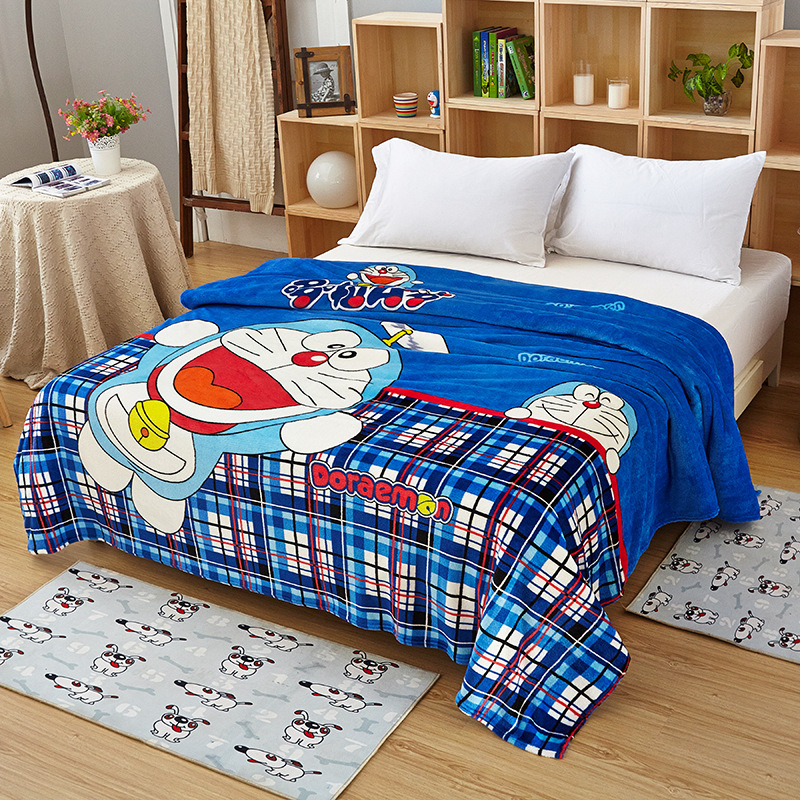 Blue Doraemon Plush Flannel Soft Blanket Throw on Couch/Bed/Plane Air Conditioning Blanket for Kids Children Boys Bedspread