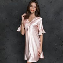 V neck Sleepdress Korean Version Ice Silk Short Sleeve Lace Skirt Home Nighty Sexy Sleepwear Women Silk Lingerie Sleeping Dress