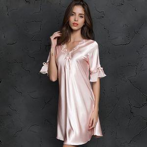 V-neck Sleepdress Korean Version Ice Silk Short Sleeve Lace Skirt Home Nighty Sexy Sleepwear Women Silk Lingerie Sleeping Dress