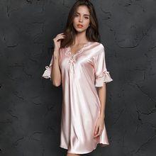 V neck Sleepdress เกาหลีรุ่นผ้าไหมแขนสั้นกระโปรงลูกไม้บ้าน Nighty ชุดนอนเซ็กซี่ผู้หญิงผ้าไหมชุดชั้นในชุดนอน