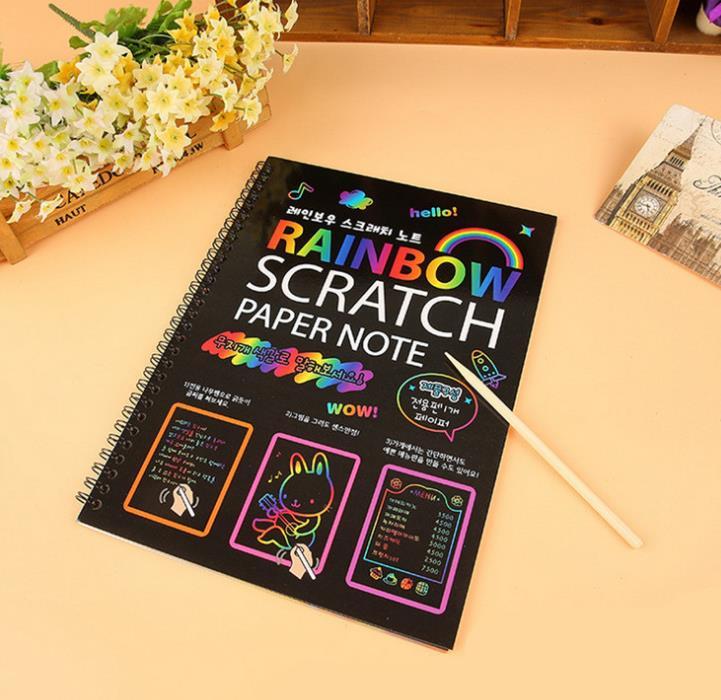 75PCS Scratch Art Paper Set Rainbow Magic Scratch Paper for Kids 3 otters Rainbow Scratch Paper Game Party Favor