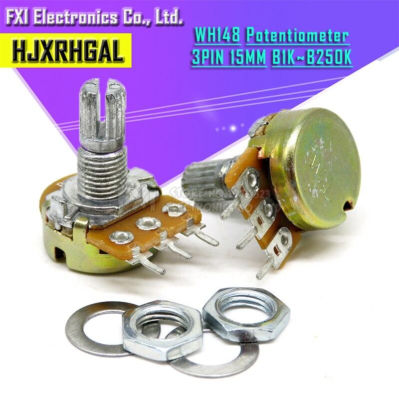 2pcs WH148 B1K B2K B5K B10K B20K B50K B100K B500K 3Pin 15mm Shaft Amplifier Dual Stereo Potentiometer 1K 2K 5K 10K 50K 100K