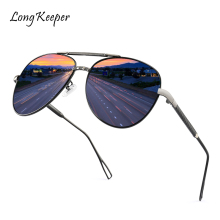 Longkeeper 2019 Vintage Pilot Women Men Sunglasses Metal Glasses Street Beat Shopping Mirror Classic Oculos De Sol Gafas UV400