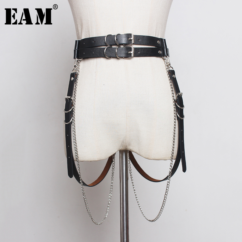 [EAM]  Pu Leather Black Chain Split Joint Long Belt Personality Women New Fashion Tide All-match Spring Autumn 2020 1B944