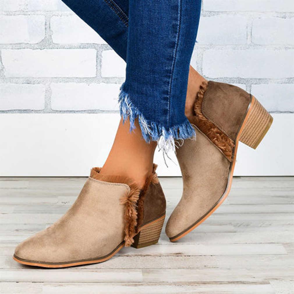 Kadın kışlık botlar kadınlar üzerinde kayma rahat yarım çizmeler Platform ayakkabılar kadın Creepers lastik daireler zapatos de mujer artı boyutu 35-43
