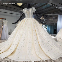 HTL1557 Sexy Luxury Crystal Beading Wedding Dresses 2020 O Neck Short Sleeve Sequined Royal Train Ball Gowns فساتين اعراس