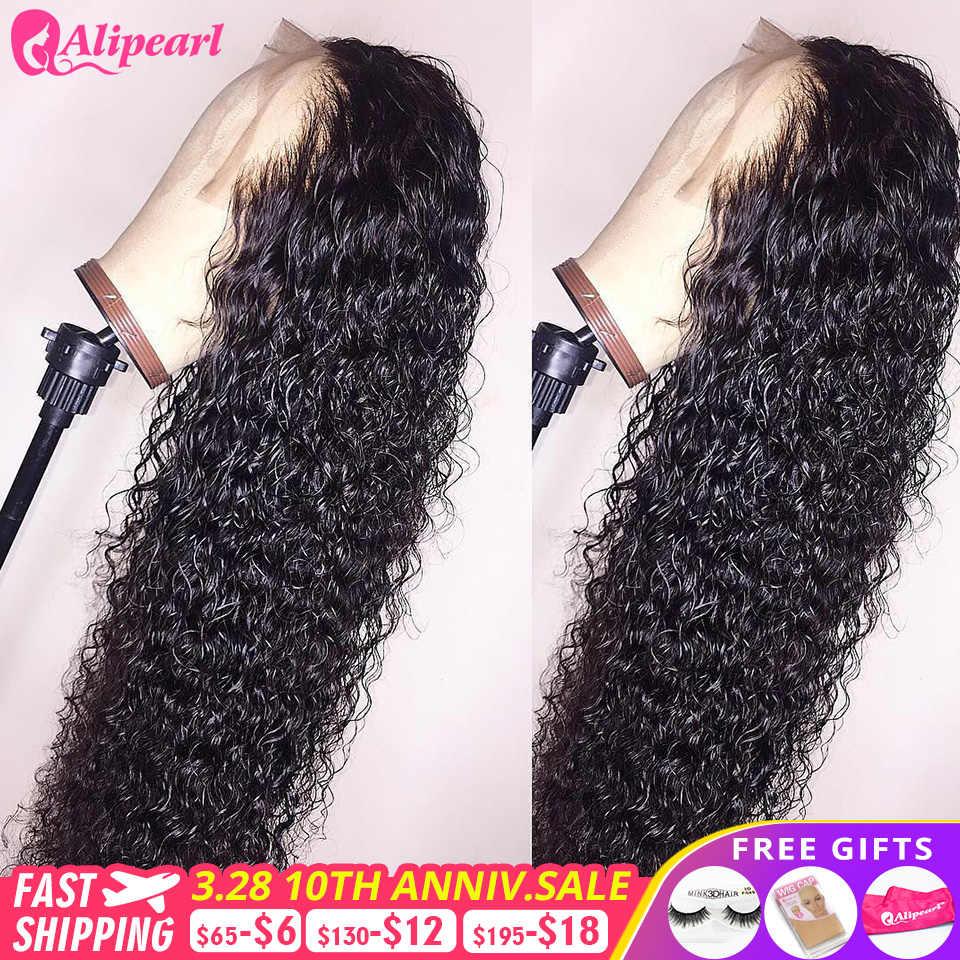 Alipearl perucas de cabelo parte profunda encaracolado frente do laço perucas de cabelo humano para as mulheres 180% 250% densidade brasileira alipearl cabelo 13x4 perucas do laço